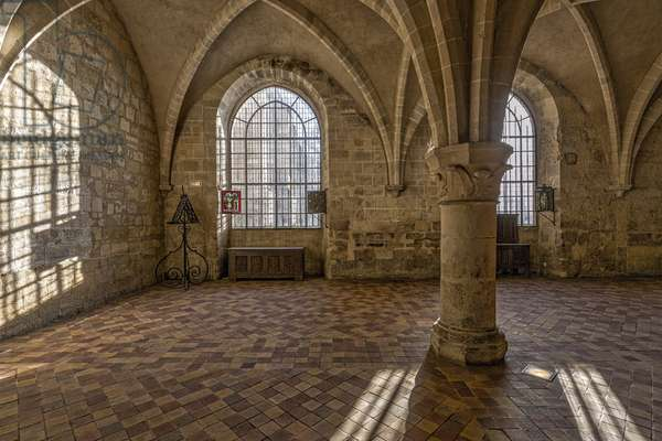 Gothic art: internal view of the kitchen of the Cistercian monastery of Royaumont (abbey) 1228-1235 Asnieres-sur-Oise (Asnieres sur Oise), Val-d'Oise (Val d'Oise)