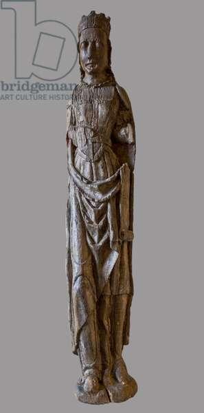 Holy Crowned Wood sculpture, 16th century (Crowned saint, 16th century) Cistercian monastere of Royaumont (abbey) 1228-1235 Asnieres-sur-Oise (Asnieres sur Oise), Val-d'Oise (Val d'Oise)