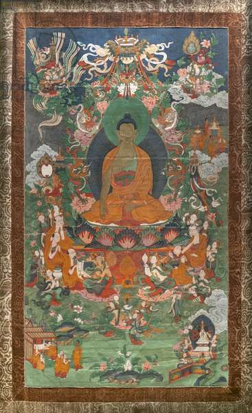 Invitation to predication and other scenes. East Tibet. Second half of the 19th century. Xylography painted on canvas.