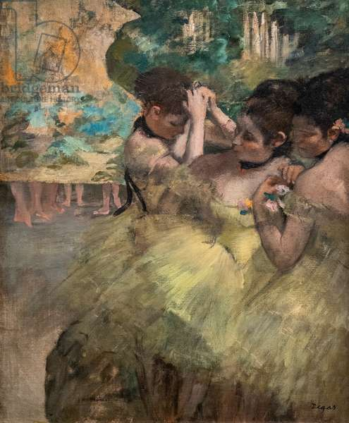 """Behind the scenes (also known as """"Yellow dancers""""). 1874-1876. Oil on canvas."""