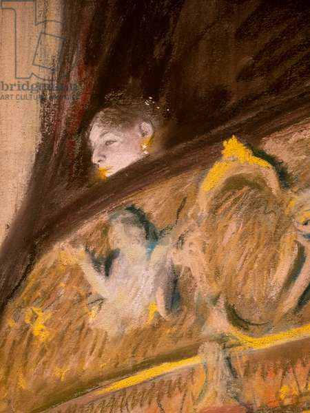 Study of a lodge at the theatre (detail). 1880. Pastel and oil on cardboard maroufle on canvas.
