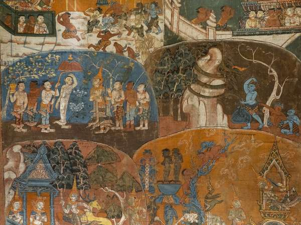 The last ten previous lives of the Boudha (Dasa Jakata) (detail). Cambodia, second half of the 18th century. Paint