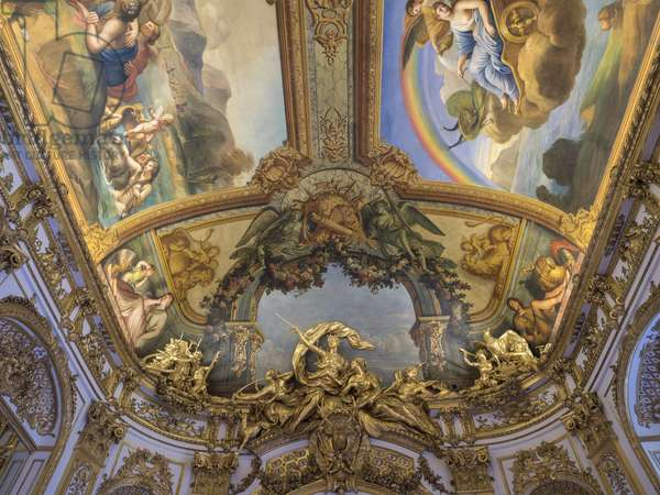 The trophee of Diane Chasseresse, a group sculpted from the door of the Galerie doree, by Francois Antoine Vasse (1681-1736), circa 1715. Banque de France. Hotel de Toulouse, former hotel de la Villiere, Paris - Hotel de Toulouse, headquarters of the Banque de France -