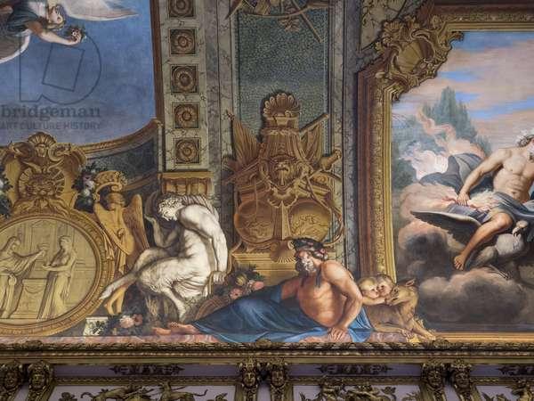 Mythological figures. Painted decor by Francois Perrier (1594-1649), 1645, Galerie doree, Banque de France. Hotel de Toulouse, former hotel de la Villiere, Paris - Hotel de Toulouse, headquarters of the Banque de France -