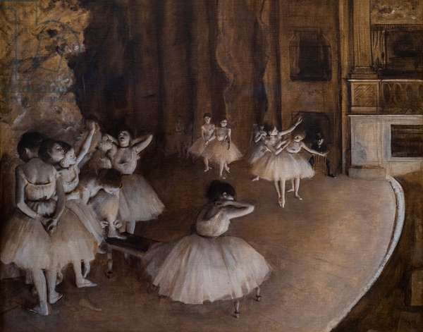 Ballet repetition on stage. 1874. Oil on canvas.