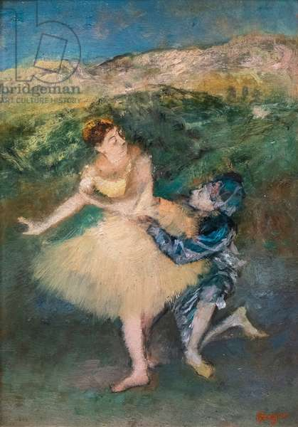 Harlequin and Colombine. Around 1895. Oil on wood.