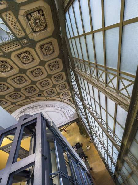 the Orsay Museum. Paris. France - Detail of the central structure of glass and steel with the decorative macaroons of the train station - Musee d'Orsay, Paris - Photography 2017