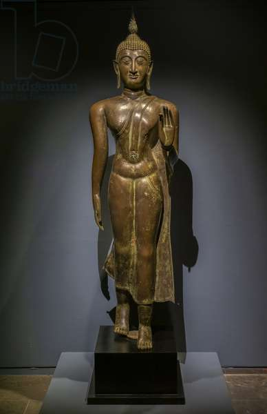 Buddha walking. Thailand. Thai art of Sukhothai, 15th-16th century (?). Bronze incrusted with mother of pearl.