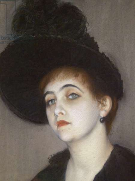 Portrait of Marie Blanche Vasnier, detail, 1888 (pastel on paper glue on canvas)