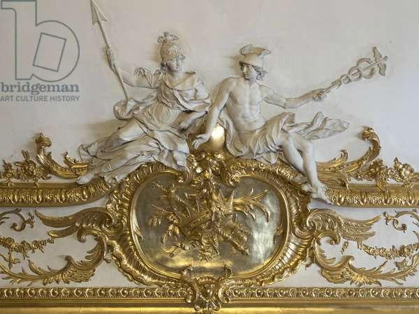 Minerva and Mercury. White stucco sculpture by Nicolas Sebastien Adam, known as Adam the younger or Adam the younger (1705-1778). Princess's parade or parade room. Hotel de Soubise, Paris, 18th century