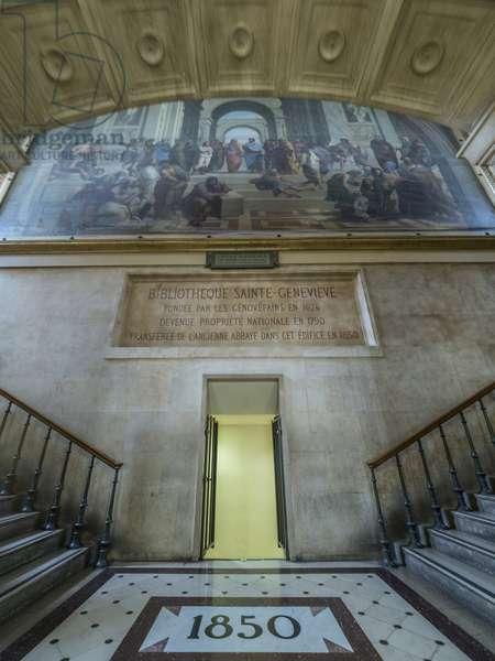 Main staircase landing. Bibliotheque Saint Genevieve, Paris, architect Henri Labrouste (1801-1875), 1843-1850