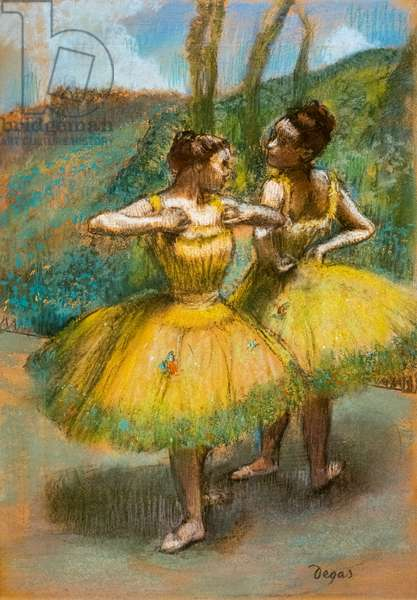Two dancers in yellow. Around 1896. Pastel and charcoal on two strips of paper.