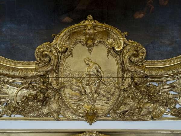 Meleagre. Bas relief of the Galerie doree, decor by Francois Antoine Vasse (1681-1736), 1715. Banque de France. Hotel de Toulouse, Paris - Hotel de Toulouse, headquarters of the Banque de France -