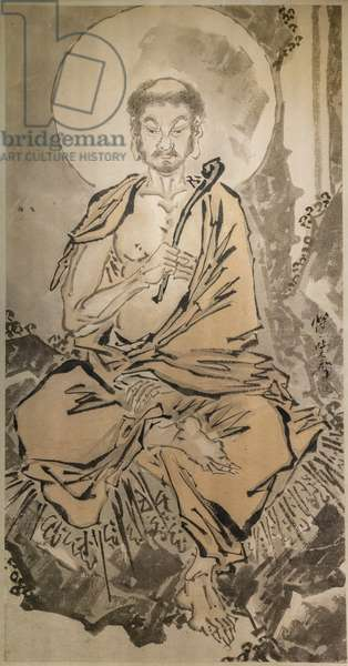 Shakyamuni ascetic. Japan, the end of the Edo period — the beginning of the Meiji era, 1860-1870. Drawing with Chinese ink and red pigment on paper.