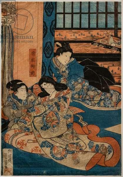 Tokiwa Gozen, mistress of Minamoto no Yoshitsune, in a scene of Kabuki (xylography on paper)