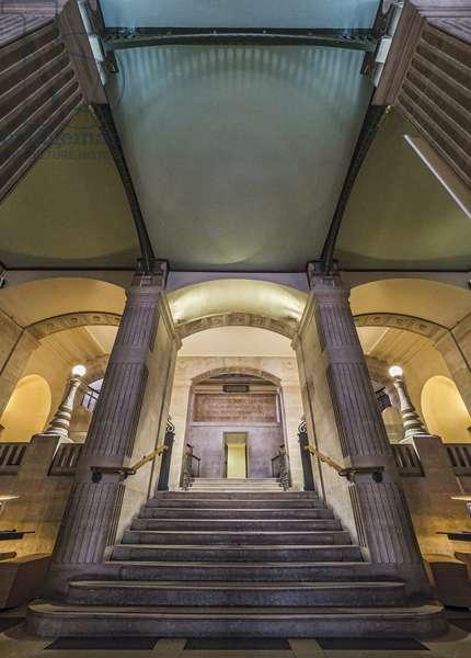 View of the main staircase. Bibliotheque Saint Genevieve, Paris, architect Henri Labrouste (1801-1875), 1843-1850