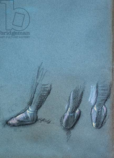 Dancer from back and three foot studies (detail). Around 1878. Charcoal and pastel on paper