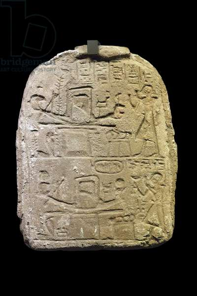 Egyptian antiquite: stele in gres of Nebdjefaou, shop manager of Amon Dim 32x25 cm Paris musee du Louvre