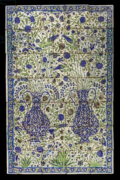 Panel has floral composition. Syria, Damascus, 1550-1650. Ceramic, decor painted under glaze. Louvre Museum