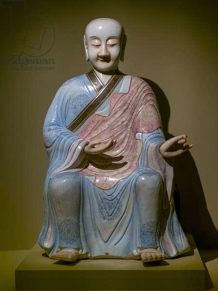 Arhat. China, Qing Dynasty 1790. Porcelain, polychrome enamel