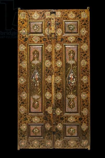 Champetre decor door. Iran, Esfahan (?) , 16th-17th century. Wood, painted decor and varnish. Louvre Museum