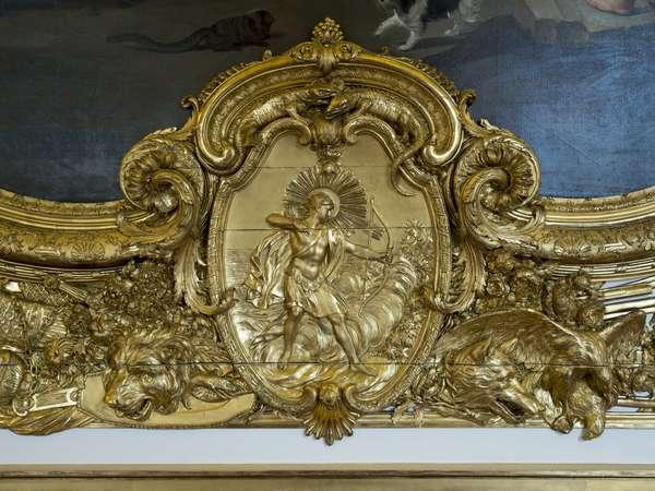 Apollo. Bas relief of the Galerie doree, decor by Francois Antoine Vasse (1681-1736), 1715. Banque de France. Hotel de Toulouse, Paris - Hotel de Toulouse, headquarters of the Banque de France -