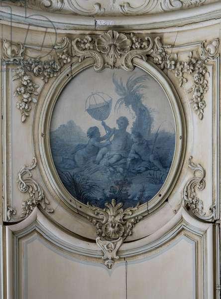 Fishing. Painting in blue camaieu by Francois Boucher (1703-1770). Cabinet du prince bibliotheque, Hotel de Soubise, Paris, 18th century