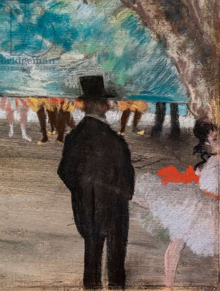 The Curtain (detail). Around 1881. Pastel on charcoal and monotype, mounts on cardboard.
