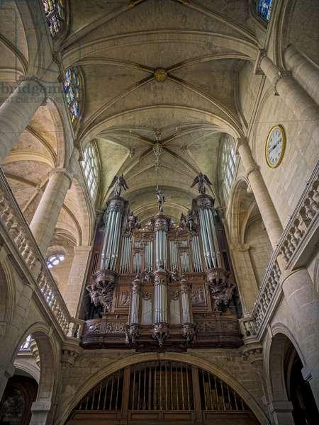 The buffet of the great organ, built and sculpted by Jehan de Buron in 1631. Church Saint Etienne du Mont, Paris, (1491-1624)