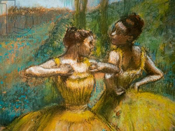 Two dancers in yellow (detail). Around 1896. Pastel and charcoal on two strips of paper.