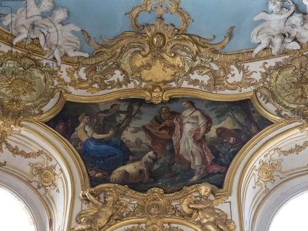 Psyche in shepherds. Painting by Charles Joseph Natoire (1700-1777), 1738. Princess Oval Lounge. Hotel de Soubise, Paris, 18th century