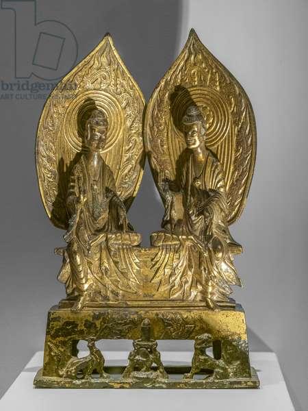 Shakyamuni and Prabhutaratna. China, Northern Wei Dynasty, 3rd year of Xiping (518). Golden bronze.