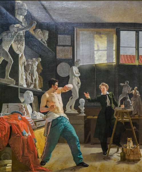 A Sculptor (Christen Christensen) in his Studio working from the Life, 1827 (oil on canvas)