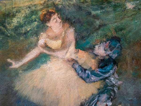 Harlequin and Colombine (detail). Around 1895. Oil on wood.