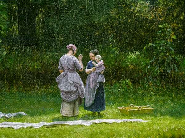 Bleaching Linen in a Clearing, detail,  1858 (oil on canvas)