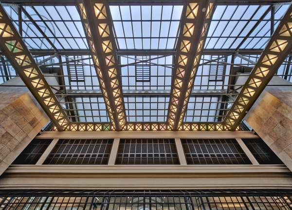 the Orsay Museum. Paris. France - Detail of the glass and steel support structure of the entrance - Musee d'Orsay, Paris - Photography 2017