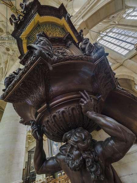 Samson supports the pulpit, sculpture by Claude Lestocard (17th century), 1651. Church Saint Etienne du Mont, Paris, (1491-1624)