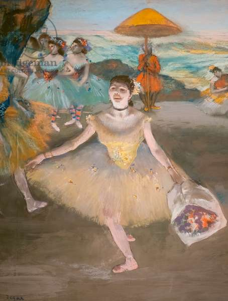 Dancer with a saluant bouquet (detail). 1878. Pastel on velin paper maroufle on canvas.