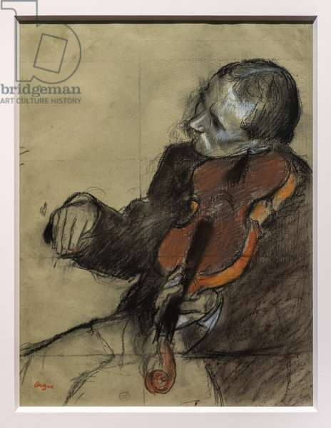 Sitting violinist. Around 1878-7879. Pastel and charcoal, charcoal tile on green velin paper.