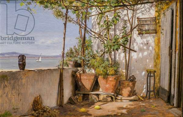 Loggia, Procida, 1835 (oil on paper mounted on canvas)