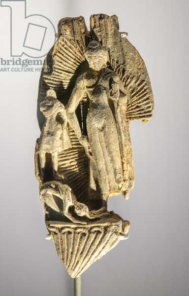 Dipamkara Jataka. China, Xinjiang. End of the 6th — beginning of the 7th century. Element of a portable altar, wood.