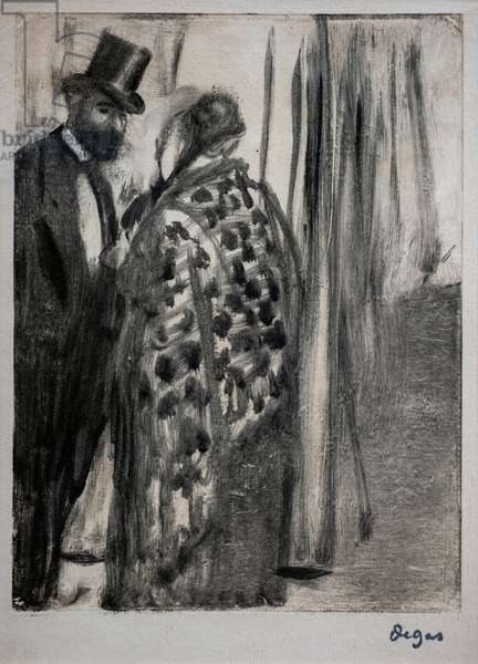 Conversation (Ludovic Halevy and Madame Cardinal). Around 1876-1877. Monotype has black ink mounts on a secondary support cardboard by the artist.