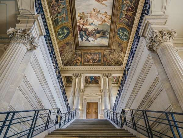 The staircase, architect Charles Lelong (1793-1861) and Edouard Dubois (1795-1813), between 1840 and 1846. On the ceiling, France attaching its archives to the dawn of time, painting by Felix Jobbe Duval (1821-1889), between 1877 and 1881. Hotel de Soubise, Paris, 18th century