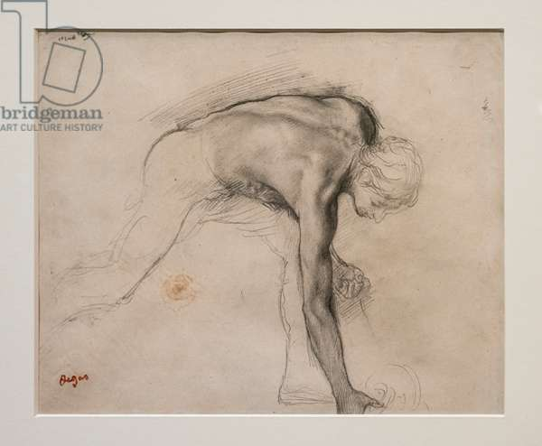 Naked man leaning picking up an object. Around 1859-1861. Graphite on velin paper.