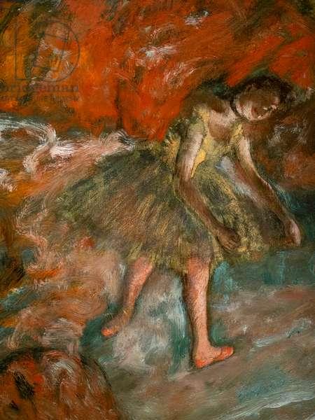 Ballet scene (detail). Around 1890. Oil on paper, laminated on panel.