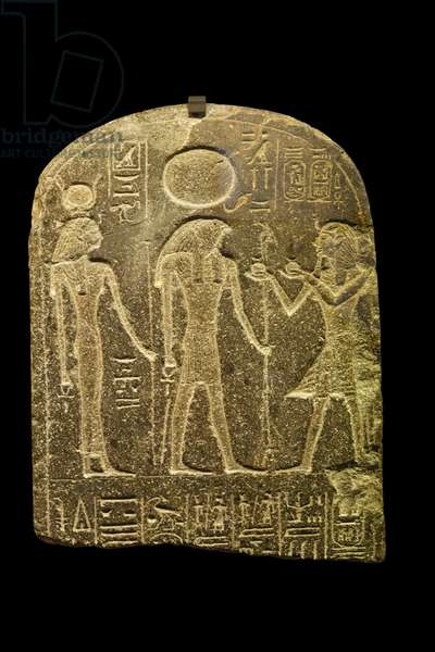 Egyptian antiquite: stele of May, chef of artisans New empire regne of Ramses II, 19th dynasty Dim 42x33 cm Paris musee du Louvre