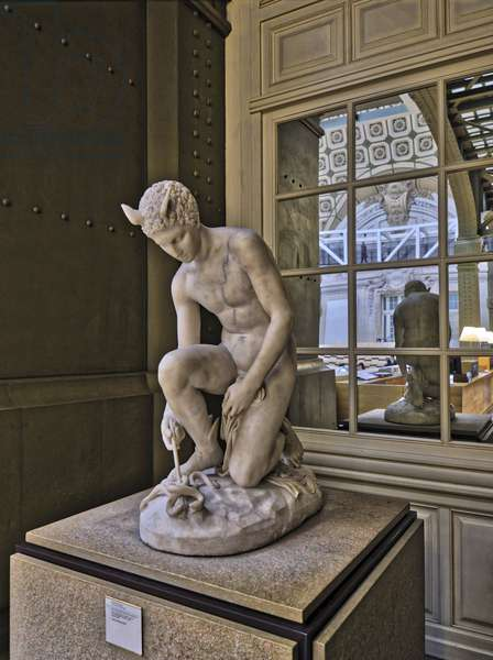 The Orsay Museum. Paris. France - Mercure inventant le caducee, marble sculpture, 1861, by Henri Chapu (1833-1891) - Musee d'Orsay, Paris - Photography 2017