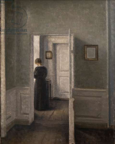 Interior with a woman standing (oil on canvas)