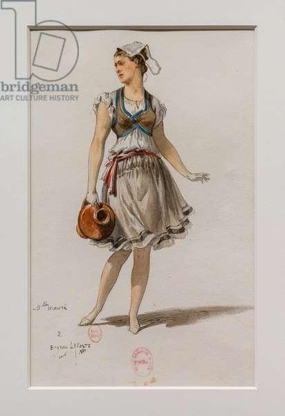 The Korrigane. Ballet of Charles-Marie Widor, costume model. 1880, pen, watercolour and gouache on paper.