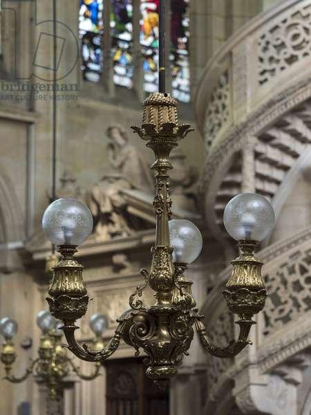 Detail of lamps. Church Saint Etienne du Mont, Paris, (1491-1624)